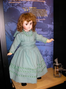 One of Edison's talking dolls, on display at the Thomas Edison National Historic Site. Photo by me.